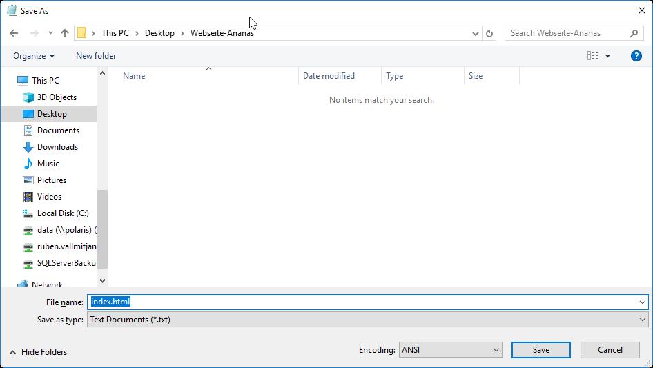 Dokument als HTML-Datei abspeichern.